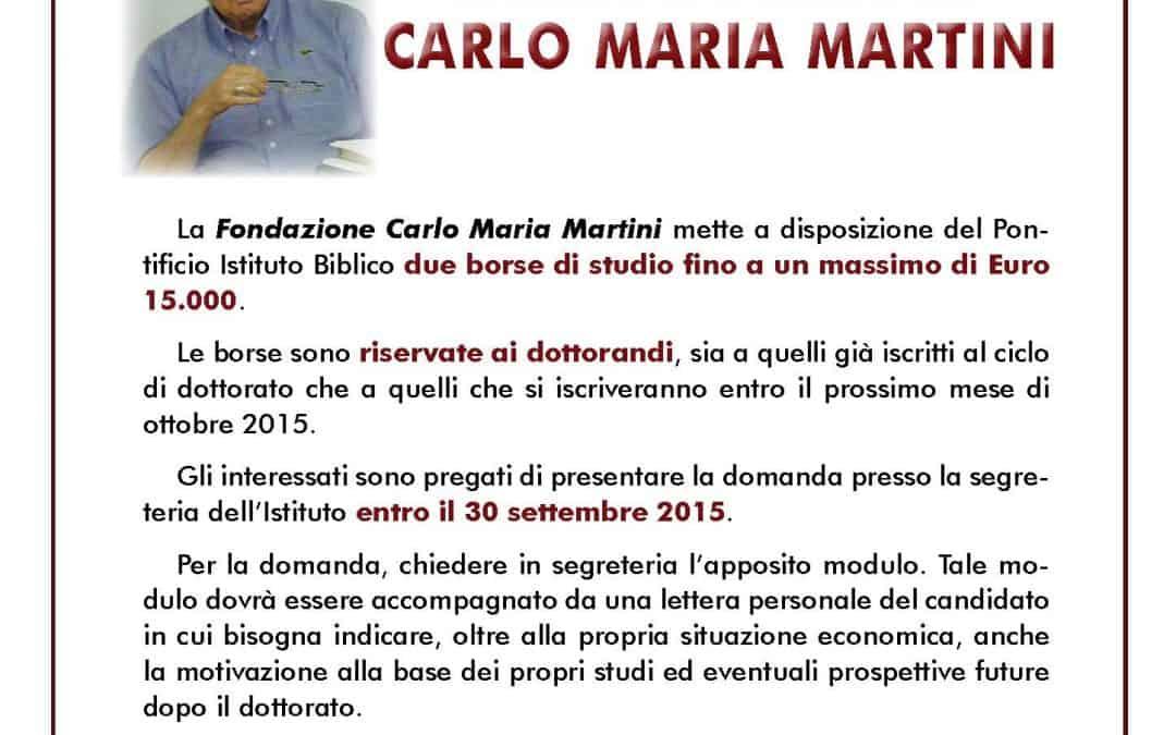 Borse di studio intitolate a Carlo Maria Martini presso il Pontificio Istituto biblico di Roma